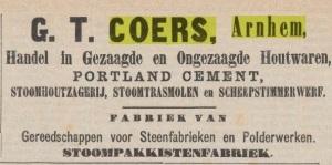 Advertentie van G.T. Coers uit 1874.